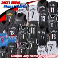 Men's Basketball jersey Kevin 7 Durant Basketball Jersey Mens Kyrie 13 Harden City 11 Irving Blue White Black 2021 City Blue Uniform New Season basketball jesreys