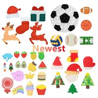 Fidget Toys Christmas Deer Tree Push It Bubble Sensory Autism Special Needs Stress Reliever Squeeze Christmas Santa Gift Toy for Kids Family DHL Shipping 2021 Newest