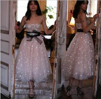 2021 A Line Party Dresses Tea Length Lace Cocktail Women Sweet 16 Summer Beach Prom Cocktailkleid Evening Gowns
