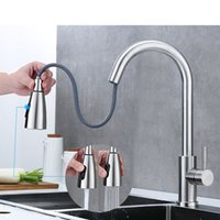 Kitchen Faucet Brushed Gold And Multicolor Pull Out Water Mixer Tap Single Handle Rotation Shower Faucets