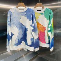 21ss mens women designer Sweatshirts Hoodies Multicolor Watercolor print casual high quality fashion men wild top Blue Coffee color
