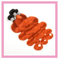Wholesale Malaysian B Orange Body Wave Double Wefts Human Hair Extensions Bundles Body Wave inch B Orange