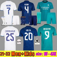 S-4XL REAL MADRID MBAPPE Soccer Jerseys 21 22 HAZARD ALABA Football Shirts BENZEMA ASENSIO MODRIC MARCELO Camiseta Fans Player Version 2021 2022 men + kids kit uniform