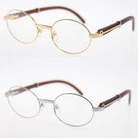 18k Gold limited Wood Oval shape face Sunglasses Eyewear Round Eyeglasses Wooden Glasses Men women Transparent lens male and female Wholesale Selling