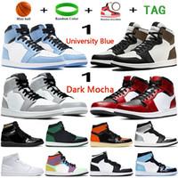 University Blue 1 1s mens Basketball Shoes silver royal toe Dark mocha mid light smoke grey UNC Patent men women sneakers