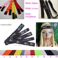 Wholesale Custom LOGO Edge Laying Grip Band Adjustable Wig HeadBand For Edges Wrap Strips Black Elastic With Velcro Hair Accessories