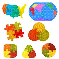 Map of the United States silicone Jigsaw puzzle toys Favor Three-dimensional push pop it Rodent Pioneer Rainbow Bubble Decompression Educational Children's Toy