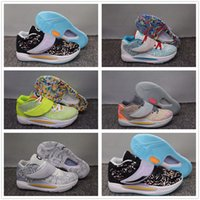 Elites Durant KD 14 14S Mens Basketball Shoes Elite Grey Pink Multi-Color Fluorescent Green KD14 XVI Trainers Zooms Sport Sneakers US 7-12
