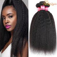 Brazilian Virgin Hair Kinky Straight 3 Bundles 100% Brazilian Kinky Straight Human Hair Extensions Brazilian Coarse Yaki Straight Hair