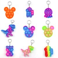 Fidget Pop it Toy Party Favor Sensory Jewelry key Chains Push Poo its Bubble Poppers Cartoon Simple Dimple toys Keychain Stress Reliever
