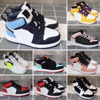 2021 1 shoes Wolf Grey blue black white red prom night kids sneakers tennis children Multi Sports top quality