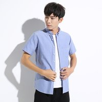 oxford color shirt 2021 - Short Sleeve Oxford Spinning Casual Solid Color Non Iron Cardigan Fashion City Lapel Men's Shirt Hair Shirts