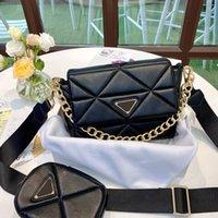Men Women Black Leather Chain Messenger Bag Fashion Small Mini Designer Handbag Purse Tote Wallet Female Three-In-One Crossbody Shoulder Underarm Bags with Box