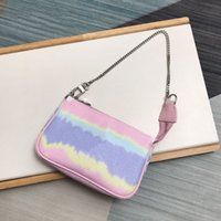 TOP Quality Super Mini Pink Tie Dye Wallets with Gift Box Cute Little Chain Pouch Lady Vibrant Essentials Accessories Bags