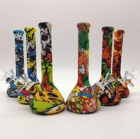 7.5'' height Hookahs Silicone Bong water smoking pipes Camouflage colorful Beaker Design bongs pipe
