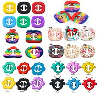 Rainbow Snap Fidget Toys Grab Sensory Popper Silicone Anti Stress Hand Grip Toy Ball Snappers Pop Fidget Squeezy It Decompression Ring Push Bubble Home