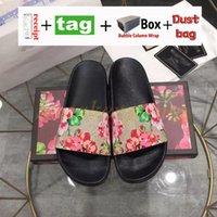 2022 Designer slippers Men Women slides with Correct Flower Box Dust Bag card luxury brand Shoes snake print Slide Leather Rubber Sandal Summer Flat Slipper 35-48