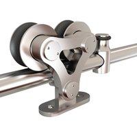 KINMADE Stainless Steel Sliding Barn Door Hardware Top Mounted Solid Dual Wheel Double Head Indoor Kit