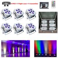 (6 lights +1 fly case +1 transmitter  lot) 6pcs*18w RGBWAUV Colorful Bright wedding decor battery up lighting   wireless dmx led flat par uplights