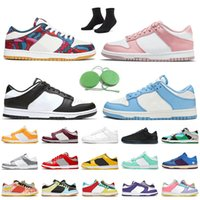 2021 SB Dunk Womens Mens Running Shoes Parra Abstract Art Pink Velvet Black White Coast Skateboard Trainers UNC Dunks Low Undefeated Shimmer Silver Sports Sneakers