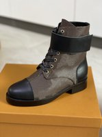 Women Heel Snow Boots Leather ankle boot chunky heel Martin shoes Print Leather Platform Desert Lace-up Boot 5cm 10 colors with box