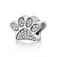 Authentic 925 Sterling Silver Paw Prints Bead With Crystal Pave Footprints Beads Fit DIY Brand Bracelet Jewelry Making Accessories