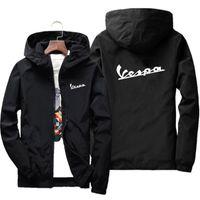 Wholesale Mens bomber jacket thin long sleeve Vespa print military jacket hooded windbreaker zipper coat brand clothing