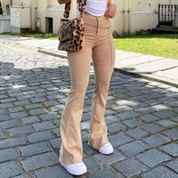 Discount girls flared jeans Indie Aesthetics Slim Brown Flare Jeans Vintage Solid High Waist Moms bell bottom Pants 90s Fashion Denim Trousers E-girl Outfit