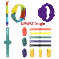 Pop IT Fidget Funny stress Toy relievers at work decompress flip cups key ring puzzle press finger bubble band silicone bracelet