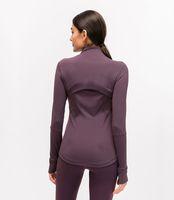 L-78 Autumn Winter New Zipper Jacket Quick-Drying Yoga Clothes Long-Sleeve Thumb Hole Training Running Jacket Women Slim Fitness Coat