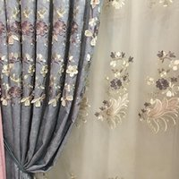European Blue And Gray Blackout Curtains Chenille Flower Embossed For Living Room Bedroom Study Tulle Custom Curtain & Drapes