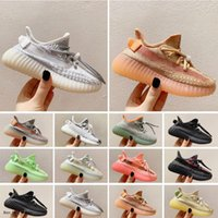 Designers Kids Athletic Outdoor Shoes 2021 Kanye Toddlers Trainers v2 Clay Black Triple White Antlia Children Sneakers Boys Girls With Box 26-35