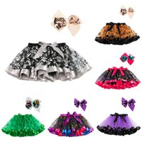 Fashion Colorful Short Mini Skirts For Toddler Kids Birthday Christmas Halloween Party Dance Dress Tutu Skirts With Big Bow