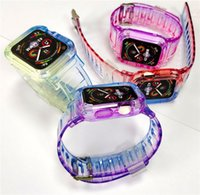 TPU Straps Gradient Colour Band Watchcase One-piece Full Protective Replacement Bracelet Bands for Apple Watch iWatch Series 7 6 SE 5 4 321 Size 40 41 44 45mm