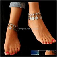 bracelet for summer 2021 - 1Pcs Vintage Charm Anklets For Women Round Coins Antique Sier Ankle Bracelet Summer Beach Leg Foot Jewelry Accessories Wjwbp Xuxil