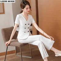 two piece suit womens 2021 - Womens Summer Business Suits For Women Elegant Korean Office Set Two Piece Short Sleeve Blazer Split Flare Pant Pink White Black Women's Pan