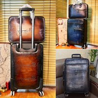 trolley case Formula Scritto Leather Rolling Suitcase handmade, artificial color change, high quality