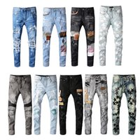 Mens Jeans Skinny Distress Ripped Destroyed Stretch Biker Denim white Black Blue Slim Fit Hip Hop Pants For Men size 28-40 Top Quality