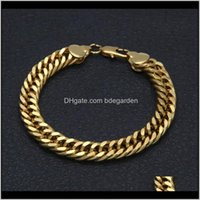Discount mens gold chain link styles Link Mens Hip Hop 18K Gold Plated Rock Style 10Mm Width Cuban Chain Bracelet Rap Street Dance Show Decorative Jewelry Whosales Kd Gfpcv
