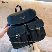 Unisex Luxurys Black Backpacks Designers School Bags Medium Size Fashion Nylon Bucket Bag Outdoors Travel Back Packs with Triangle Letters Men and Women
