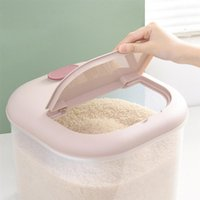 6 10KG Thicken Plastic Rice Storage Container Grain Cereal Flour Bucket With Measuring Cup Cylinder Box Bottles & Jars