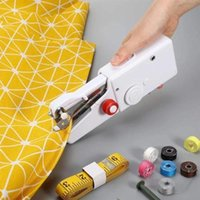 Discount portable hand sewing Portable Mini Hand Sewing Machine Quick Handy Stitch Sew Needlework Cordless Clothes Fabrics Household Electric Notions & Tools