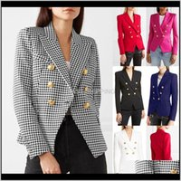 Women'S Suits Blazers Apparel Womens Double Breasted Fashion Houndstooth Solid Tops Arrival Female Slim Fit Jackets To 0M1Ta