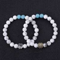Discount bracelet women dog Dog Paw 8mm Stone Beads Bracelet Women Men Bangle Beaded Hand Strings