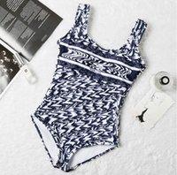 Womens Bikini Sexy Beach Bikinis Summer Split Swimsuit Fashion Letter Printed Strappy Siamese Split Style Swimwear One Piece 2021