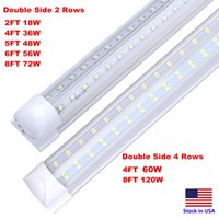 LED Tube 8FT Shop Light Fixture 120W Cooler Door Freezer Bulbs 2ft 4ft 5ft 6ft V Shape Integrated Lamps