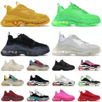 2021 Arrival Fashion 17FW Paris Crystal Clear Sole Flat Casual Shoes Triple s Platform Vintage Old Dad Sneakers Mens Womens Luxurys Designer Loafers