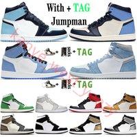 2021 Top Quality Jumpman 1 1s Mens Basketball Shoes Hyper Royal University Blue UNC Obsidian Dark Mocha Women Sneaker Trainers Size 36-46