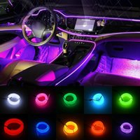 Discount cars string lights Neon LED Light Glow EL Wire String Strip Rope Tube Car Interior Atmosphere Decor Lamp Line Decorated Prop Interior&External Lights