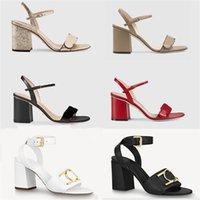 Women Lock IT Sandals Luxury high Heels Metallic laminate leather mid-heel sandal suede designer sandals summer beach wedding shoes 35-41 with box